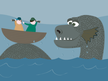 Cartoon of Nessie hunters