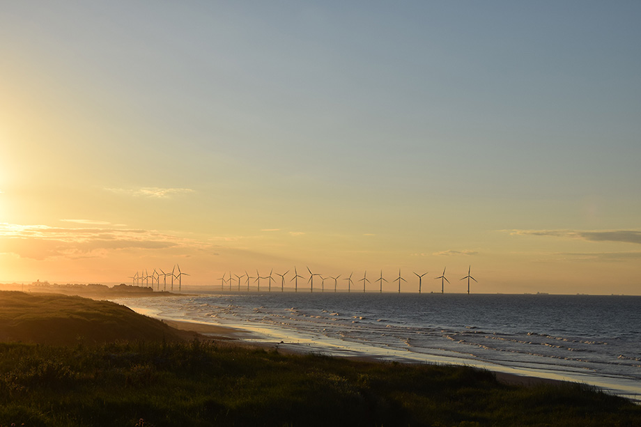 Coastline with offshore wind turbines at sunset